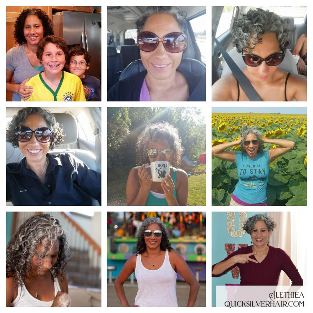 Alethiea Transition To Gray Hair Collage of images