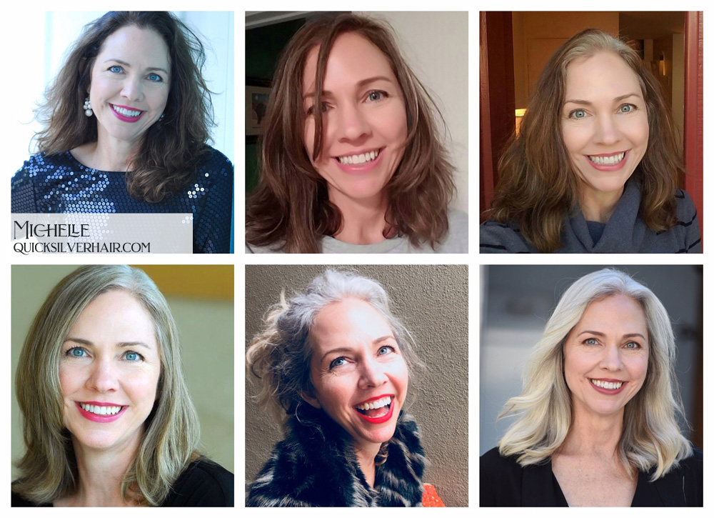 Collage pictures of Transition To Gray Hair Michelle Ray