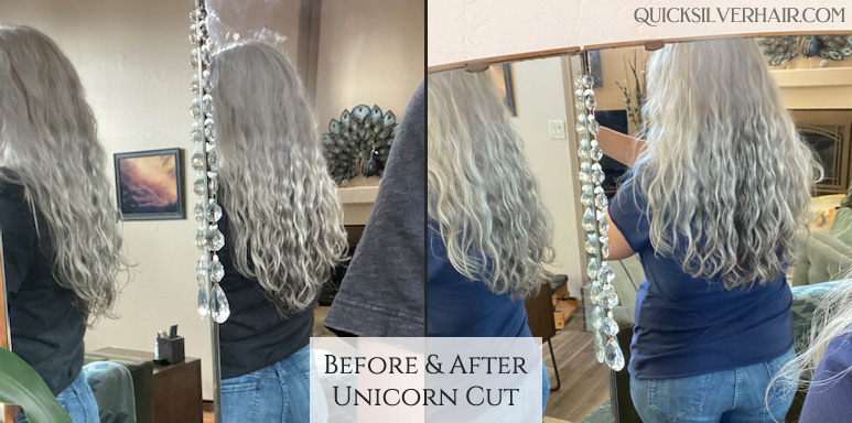 before and after photo of Joli's unicorn cut