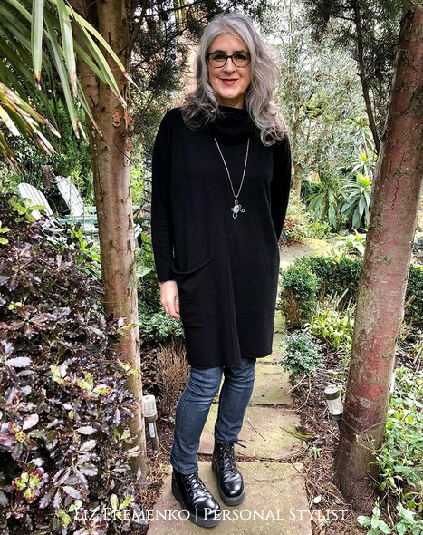Image of Liz in Black sweater dress over jeans