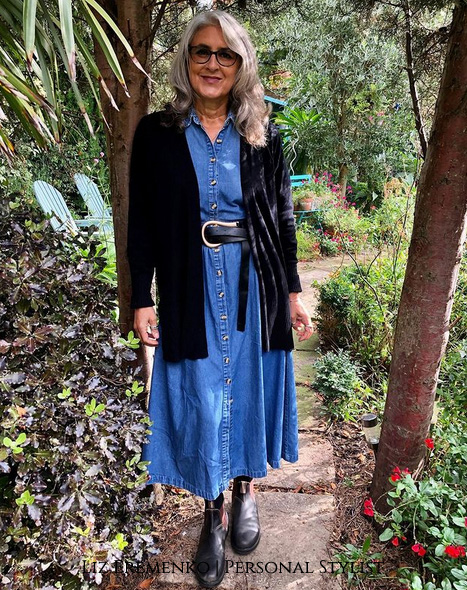 Image of Liz in a chambray Dress
