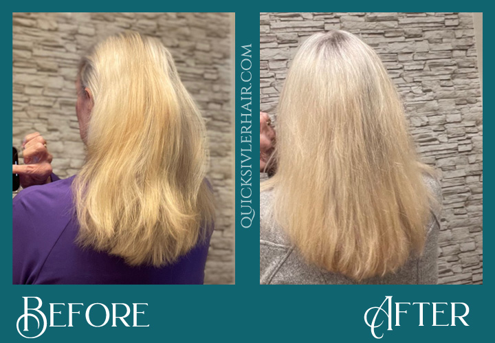 Kathy K Before and After QuickSilverHair Squalane Kit