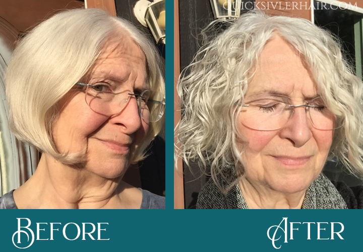 Vickie S Before and After QuickSilverHair Squalane Kit