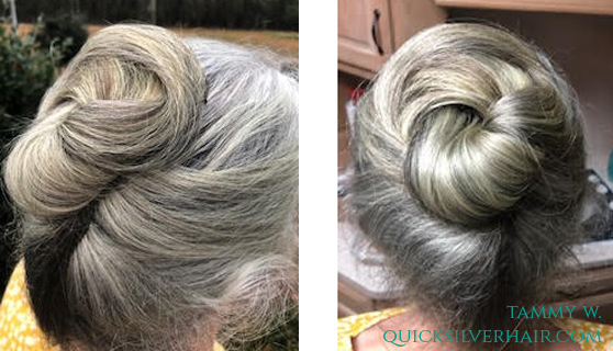 Image of Tammy with sun damage on gray hair