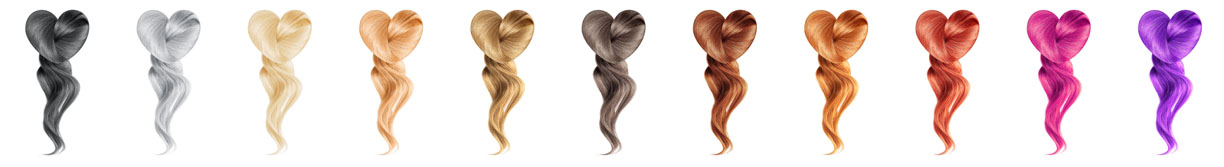 Collection various colors of shiny hair in shape of hearts on white background