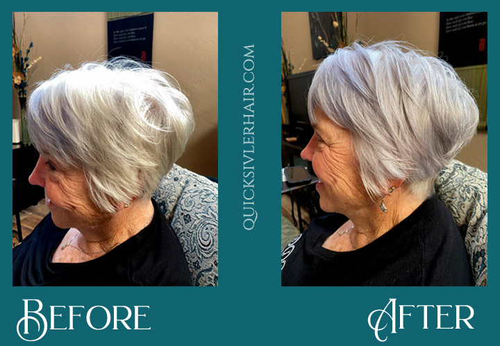 Before and After QuickSilverHair purple mask with clay