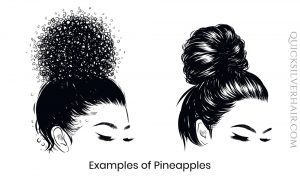 Drawing of two women with hair pineapple